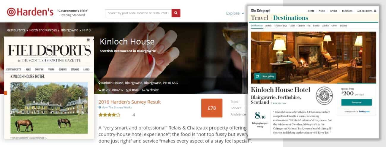Press and Awards for Kinloch House
